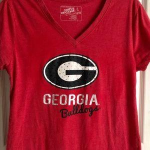 Georgia Bulldog ladies red T-shirt size large.